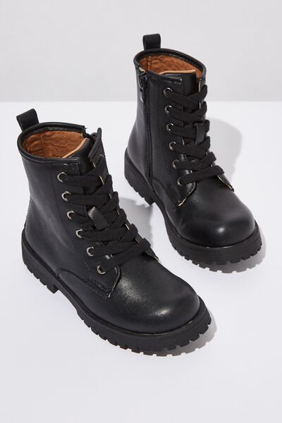 Roxie Combat Boot, BLACK SMOOTH
