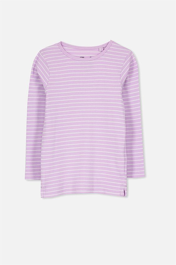 Jessie Crew Long Sleeve Tee, ORCHID BLOOM/VANILLA STRIPE