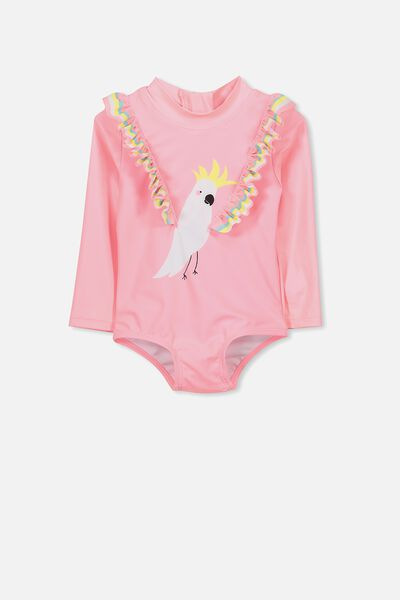 Malia Long Sleeve One Piece Swimsuit, PINK GRAPEFRUIT/COCKATOO