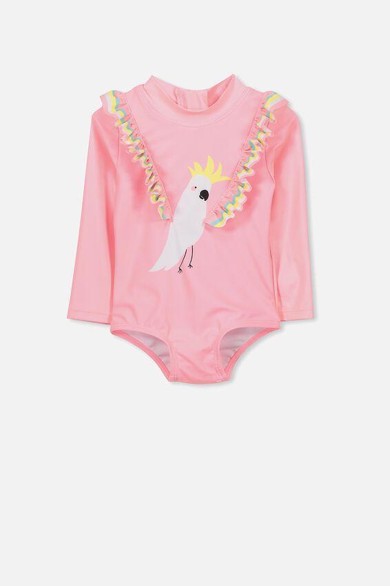 Malia Long Sleeve One Piece Swimsuit, PINK GRAPEFRUIT/COCKATOO