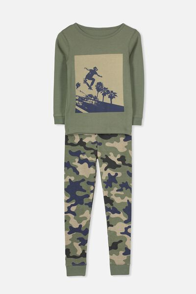 Dan Long Sleeve Boys PJs, CAMO SKATER