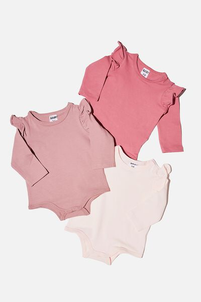 3 Pack Long Sleeve Ruffle Bubbysuit, MAUVE PLUM/DUSTY BERRY/CRYSTAL PINK
