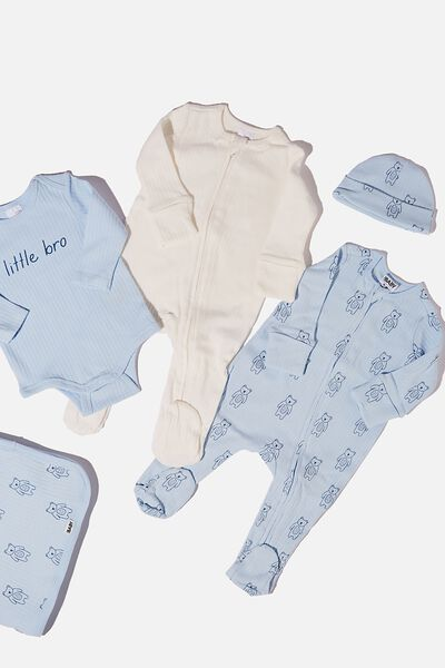 Bundle Nb Romper, Bubbysuit, Blanket & Beanie, WHITE WATER BLUE/FOREST BEARS