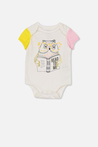 Mini Short Sleeve Bodysuit, VANILLA/READ TO ME OWL