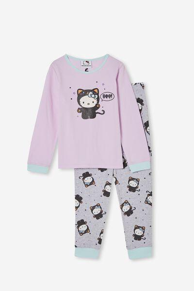 Florence Long Sleeve Pyjama Set Licensed, LCN SAN HELLO KITTY BLACK CAT/PALE VIOLET