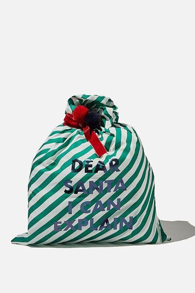 Slogan Santa Sack, GREEN & WHITE STRIPE