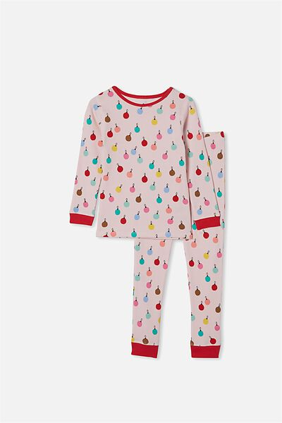 Jessie Waffle Long Sleeve Pyjama Set, MULTI BAUBLES PINK QUARTZ