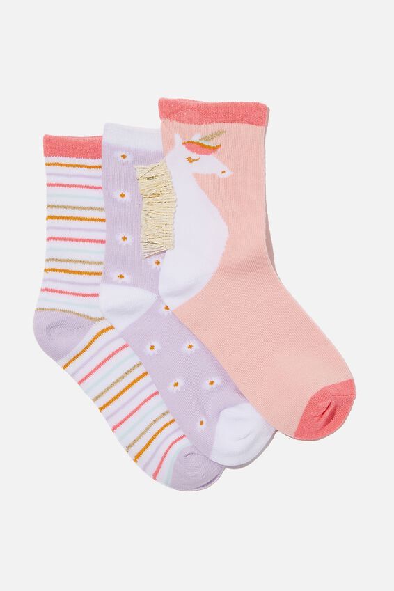Kids 3Pk Crew Socks, UNICORNS AND DAISIES
