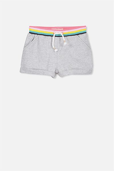 Nila Knit Short, LIGHT GREY MARLE/RAINBOW 2