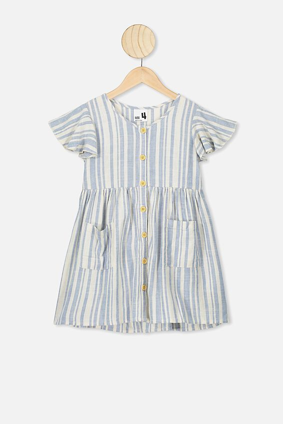 Vanessa Short Sleeve Dress, DUSTY BLUE/DARK VANILLA STRIPE