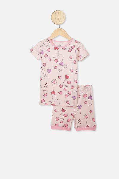 Nikki Short Sleeve Pajama Set, CRYSTAL PINK/SWEET HEARTS