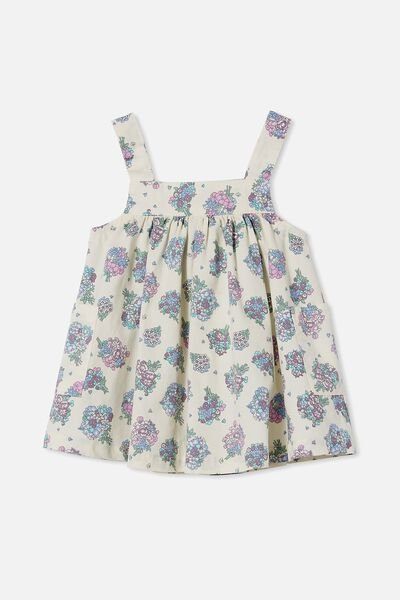 Penny Pinafore Dress, DARK VANILLA/DUSK PURPLE PETUNIA FLORAL