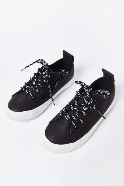 Noah Lace Up Trainer, BLACK