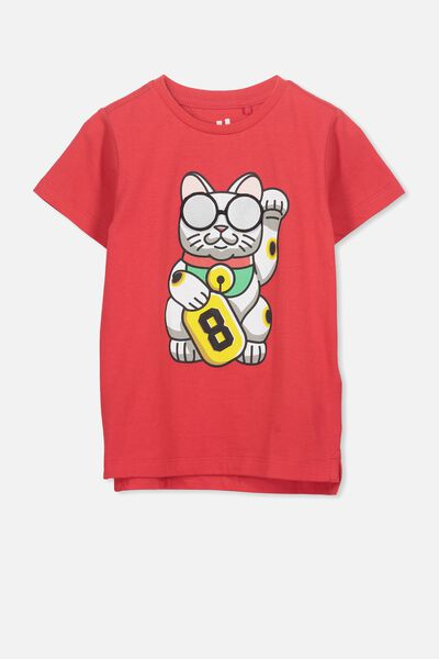 Max Short Sleeve Tee, SOPHIE RED/CAT