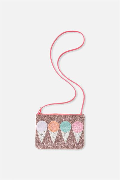 Glitter Party Bag, GOLD/ICE CREAM