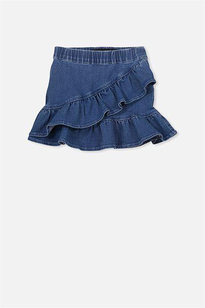 Caddie Frill Skirt, MID BLUE WASH