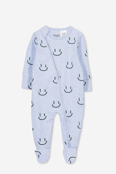 Mini Zip Through Romper, PALE BLUE MARLE/SMILEY FACE
