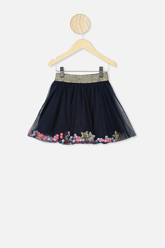 Trixiebelle Tulle Skirt, INDIAN INK/STARS & POM POMS