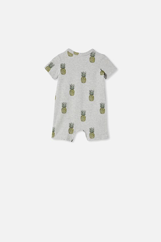 The Short Sleeve Romper, CLOUD MARLE/PINEAPPLES