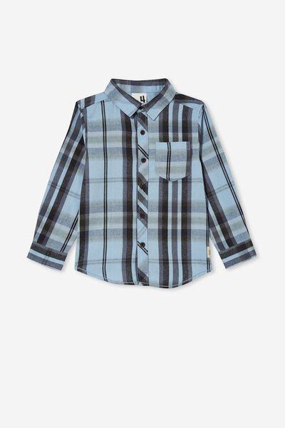 Rugged Long Sleeve Shirt, DUSTY BLUE/WASHED CHECK