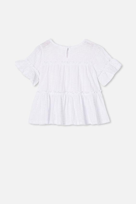 Frida Short Sleeve Frill Top, WHITE