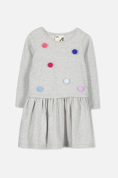 Carolin Long Sleeve Dress, LT GREY MARLE/POM POMS