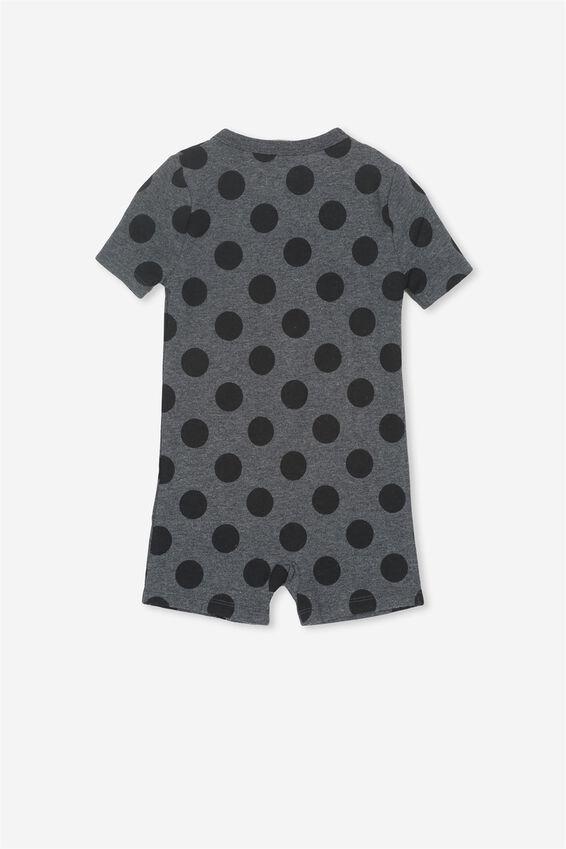 The Snug Short Sleeve Romper, DANA SPOT GRAPHITE MARLE/BLACK
