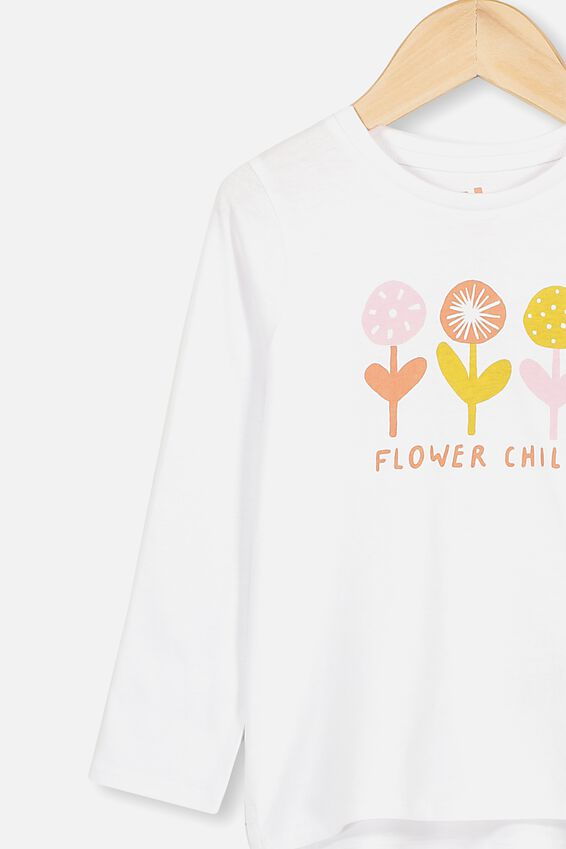 Penelope Long Sleeve Tee, WHITE/FLOWER CHILD