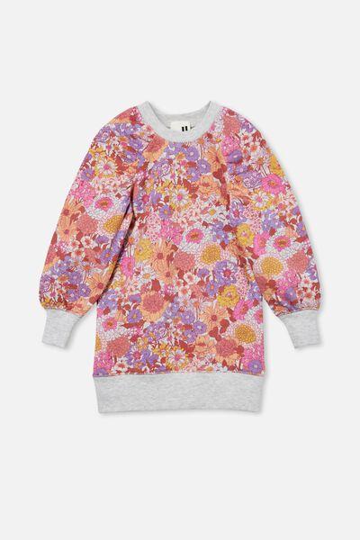 Molly Long Sleeve Dress, OAT MARLE/PINK BOHO FLORAL