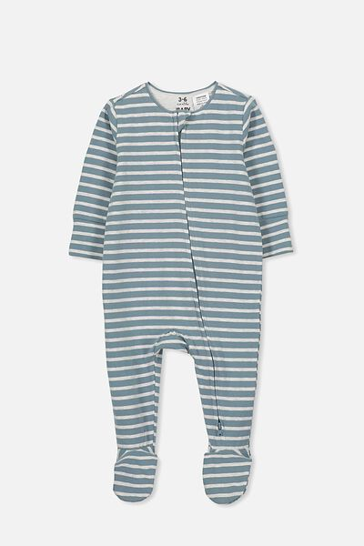 The Long Sleeve Zip Romper, FABULOUS STRIPE DEEP POOL BLUE/SOFT GREY MARLE