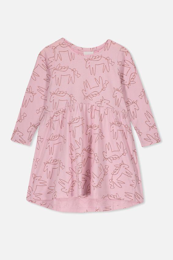 Freya Long Sleeve Dress, PINK LAVENDER/UNICORNS