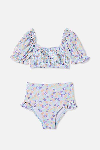 Primrose Puff Sleeve Bikini, DREAM BLUE/PAPERCUT FLORAL