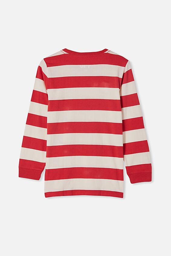 Tom Long Sleeve Tee, RETRO WHITE / LUCKY RED STRIPE