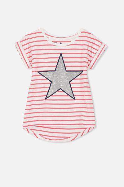 Penelope Short Sleeve Roll Up Tee, TEABERRY STRIPE/GLITTER STAR