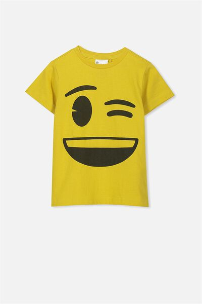 Short Sleeve License Tee, BURNT MUSTARD/NICE DAY EMOJI