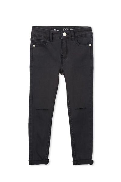 Rose Split Knee Jean, WASHED BLACK