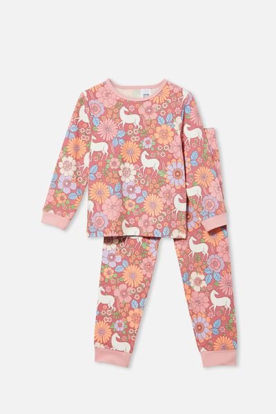 Florence Long Sleeve Pyjama Set, UNICORN GARDEN/VERY BERRY