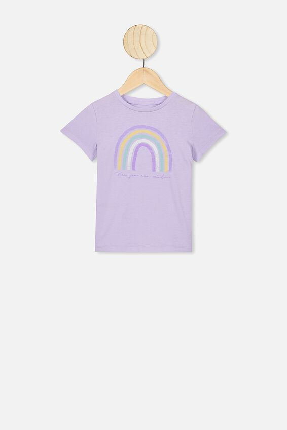 Penelope Short Sleeve Tee, VINTAGE LILAC/BE YOUR OWN RAINBOW