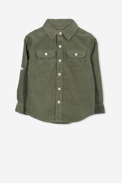 Noah Long Sleeve Shirt, ARMY GREEN CORD
