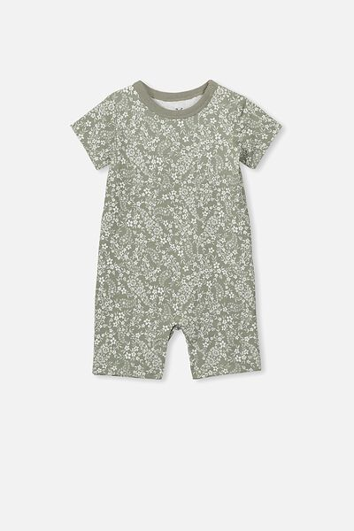The Short Sleeve Romper, SILVER SAGE/PAISLEY FLORAL
