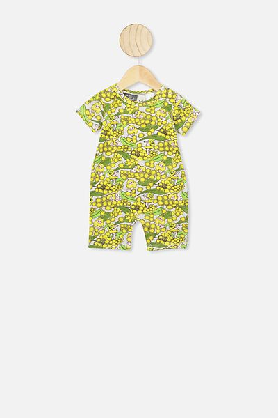 The Short Sleeve Romper, LCN MAY SOFT GREY MARLE/WATTLE BABIES