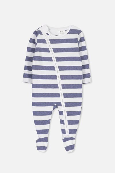 Mini Zip Through Romper, WHITE/INDIAN INK MARLE STRIPE