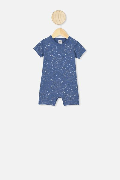 The Short Sleeve Romper, PETTY BLUE SCATTER STARS