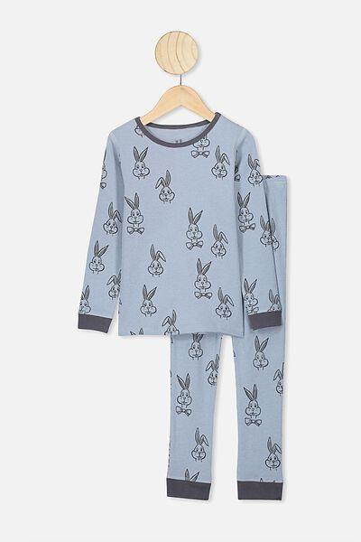 Jack Boys Long Sleeve Waffle Pyjama Set, RAIN CLOUD/BUNNY BOW TIE