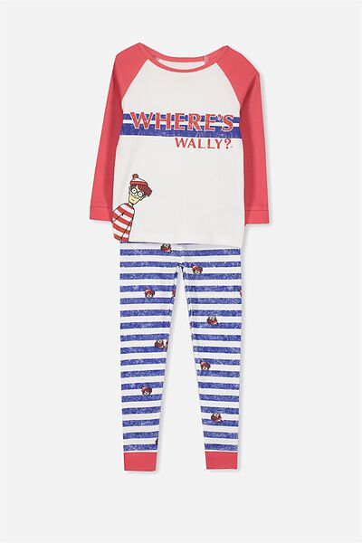 Jacob Boys Long Sleeve Raglan PJ Set, LCN WHERES WALLY