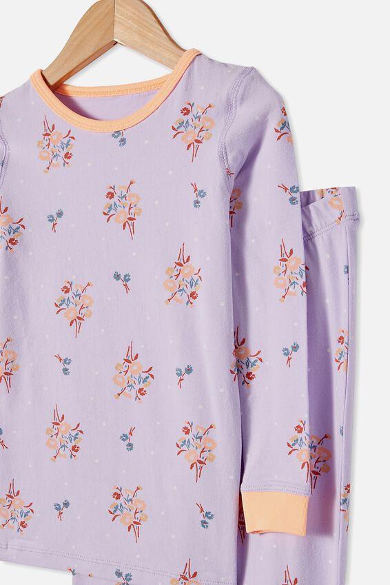 Lila Long Sleeve Pajama Set, DITSY FLORAL VINTAGE LILAC