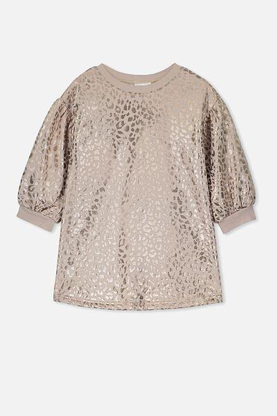 Angel Long Sleeve Dress, MUSHROOM/ROSE GOLD LEOPARD