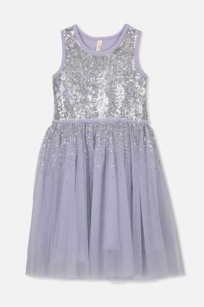 Iris Tulle Dress, LILAC DUSK MAGIC
