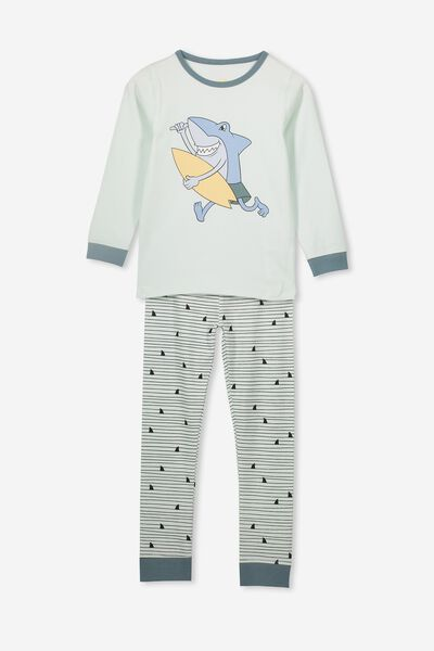 Ethan Long Sleeve Boys Pyjama Set, SHARK FIN STRIPE