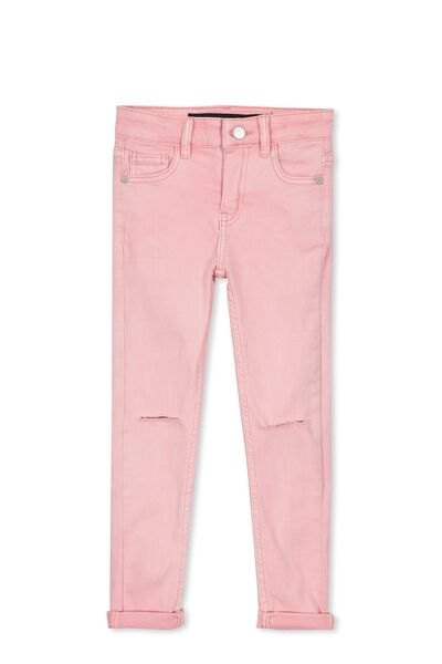 Rose Split Knee Jean, POWDER PINK